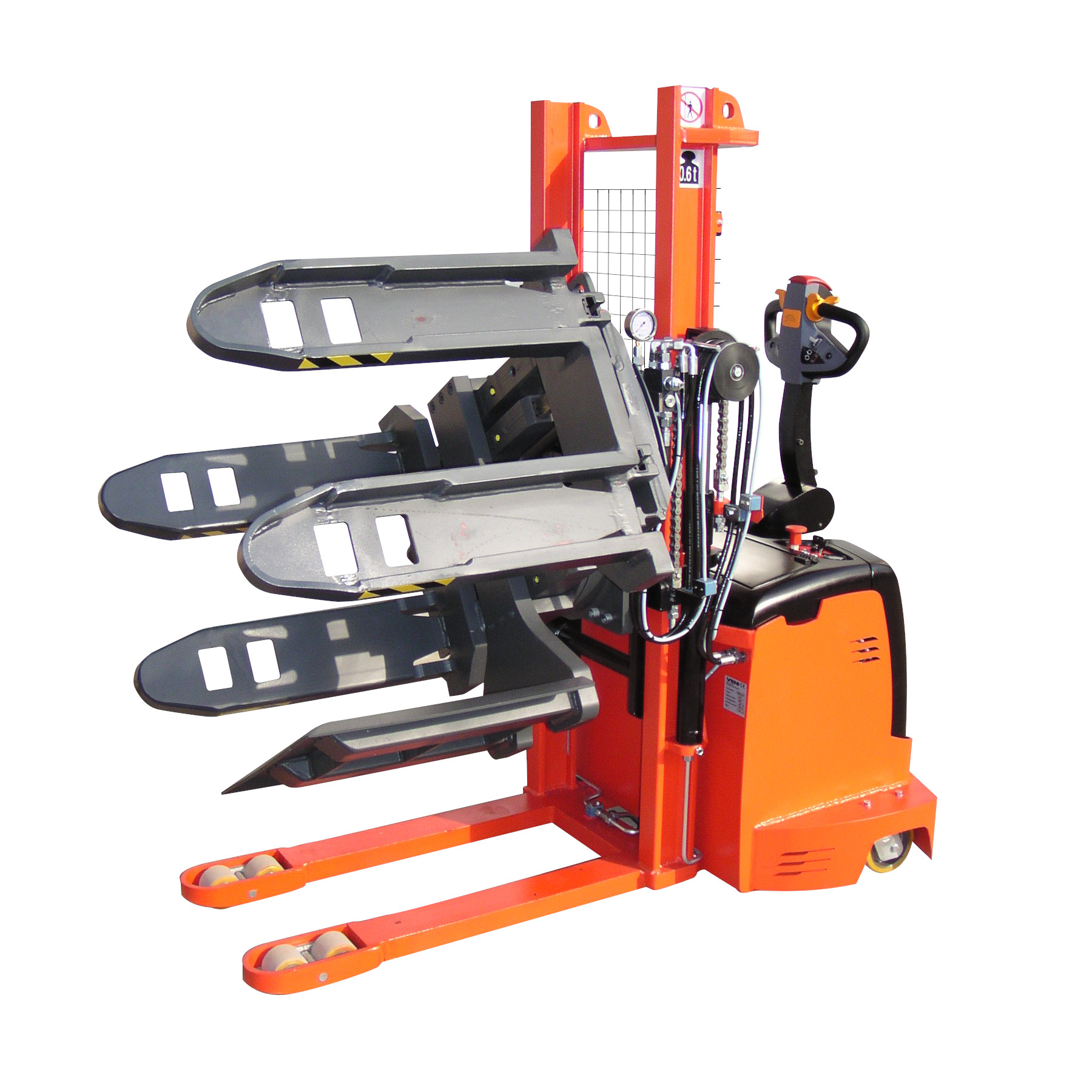 Electric Pallet Stacker with Pallet Turnover Clamp KMS.AC.PT 600/1,3